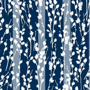 Pussywillow Silhouettes | Midnight Blue + White | Stripes