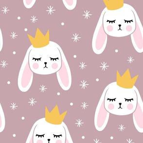(Jumbo scale) Bunny Princess - mauve - easter spring rabbit bunnies LAD19BS
