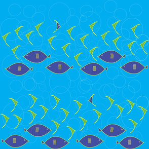1006_Beach_Fishes_2 Rows Swimming_Dk.Aqua Background_repeat pattern_60 percent boubles_trimmed_1 block.fw