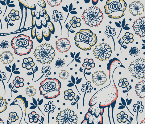 Birds and flowers another version fabric by lucybaribeau on Spoonflower - custom fabric
