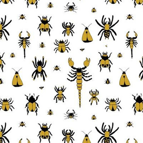 Little bugs and insects scorpion spiders and jungle beatle flies and mot gender neutral mustard yellow