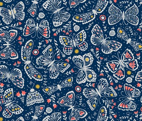 Late Night Lepidoptera  fabric by studio_amelie on Spoonflower - custom fabric