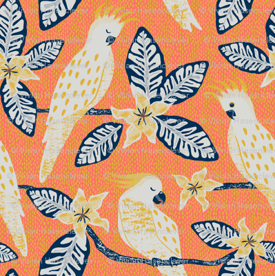 Cockatoo - coral and yellow background