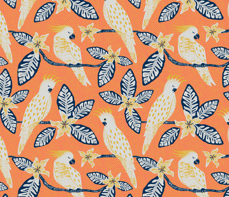Cockatoo - coral and yellow background fabric by vivdesign on Spoonflower - custom fabric