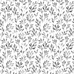 Cute and simple botanical watercolor monochrome pattern with leaves and branches
