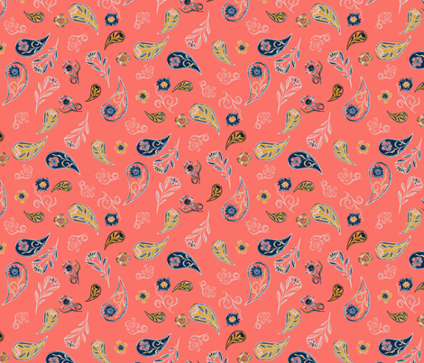 Paisley Coral fabric by sarahnussbaumer on Spoonflower - custom fabric