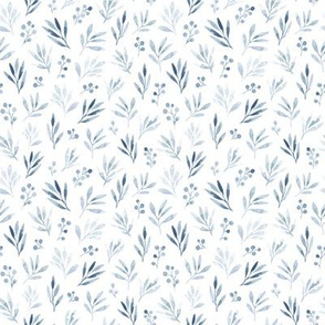 Cute and simple botanical watercolor pattern with herbs, leaves and branches