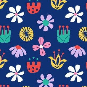 Nordic Floral in Mod Rainbow + Navy Blue