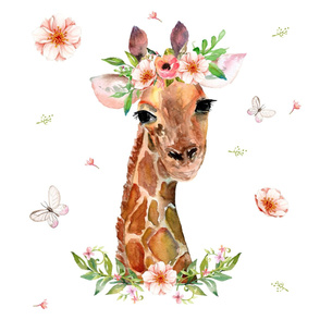 "27""x36"" Floral Giraffe 2 per 1 yard of minky"