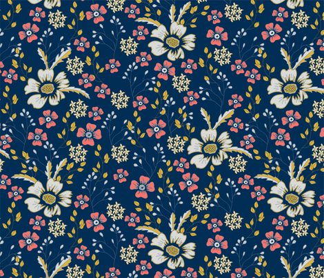 Oxeye and phlox fabric by creative_catmint on Spoonflower - custom fabric