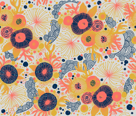 Coral Flow  fabric by cynthiafrenette on Spoonflower - custom fabric