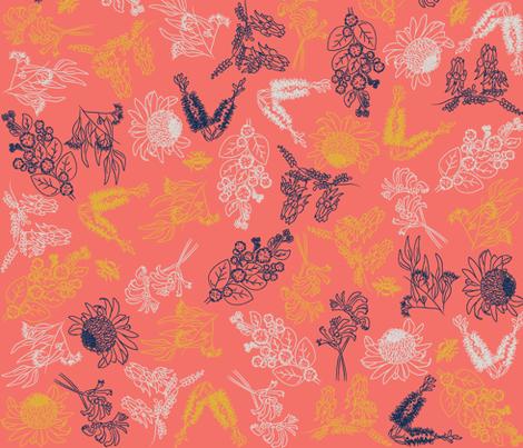 native australian flowers fabric by insanityandimpossiblethings on Spoonflower - custom fabric