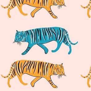Pop tigers on blush