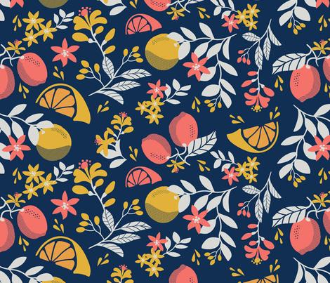 Juicy Citrus - Navy fabric by marieknutson on Spoonflower - custom fabric
