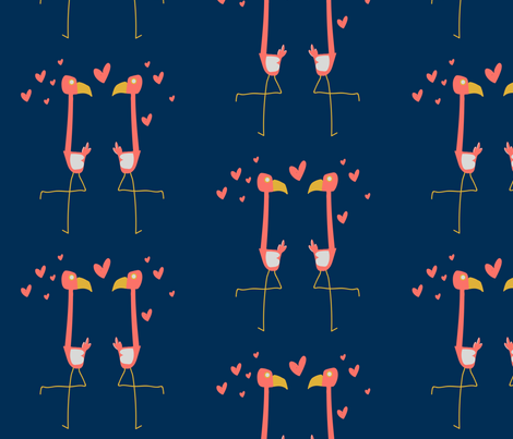 flamingo love fabric by maybeedesignsco on Spoonflower - custom fabric