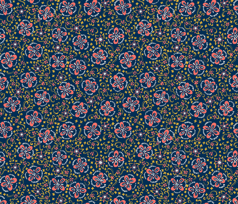 Coral Painted Floral Calico fabric by m_harrison_design on Spoonflower - custom fabric
