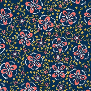 Coral Painted Floral Calico