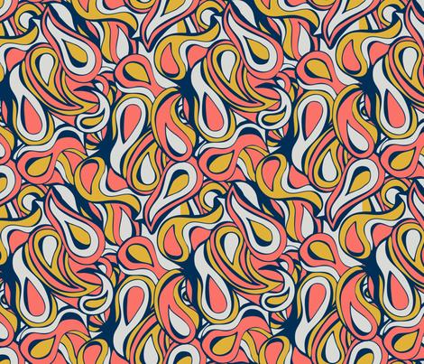 60's Coral Swirl fabric by bastcatcreative on Spoonflower - custom fabric