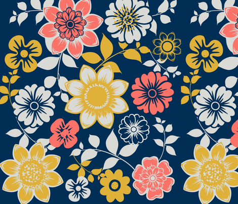 Floral Coral Delight fabric by lacartera on Spoonflower - custom fabric