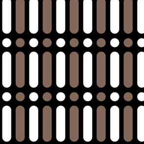 Medium White and Taupe Brown Vertical Dot Dash on Black