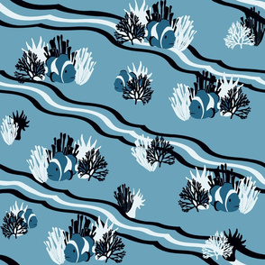 Coral Reef in Shades of Blue