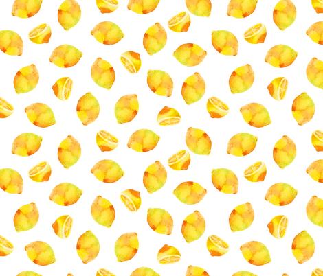 Watercolor Lemons Fruit Fabric Wallpaper Seamless Repeat