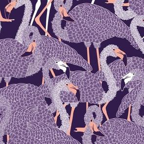 Island Flamingos on Violet - Large
