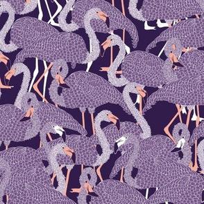 Island Flamingos on Violet - Medium