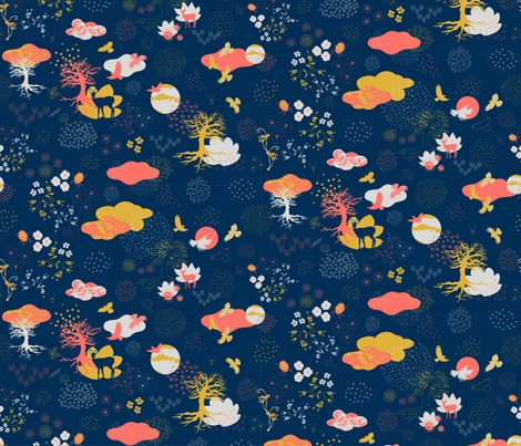 Surreal Garden Coral  fabric by ullas_pattern on Spoonflower - custom fabric
