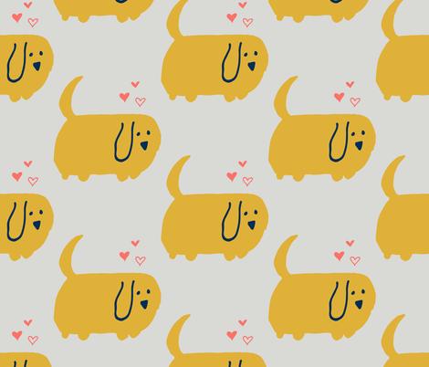 Cute Dog  Yellow fabric by bruxamagica on Spoonflower - custom fabric