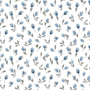Cute and simple botanical watercolor pattern with leaves and flowers