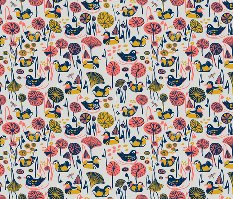 Duck Pond - Coral Limited Colour Challenge fabric by fresh_water_daisy on Spoonflower - custom fabric