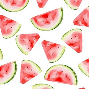 Watercolour Watermelon Summer Fruit Fabric Wallpaper Seamless Repeat Pattern