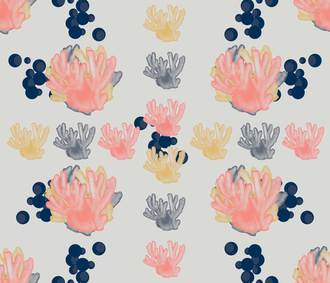 Calming Corals n Bubbles fabric by mrpeabodydesigns on Spoonflower - custom fabric