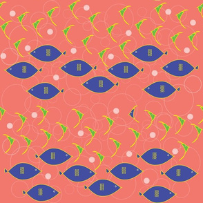 1008_Beach_Fishes_2 Rows Swimming_Living Coral Background_repeat pattern_60 percent boubles_trimmed_1 block.fw