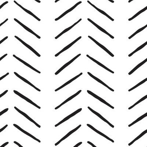 black and white inky vertical herringbone | large scale