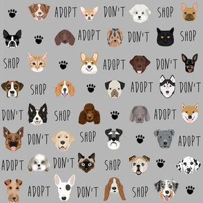 adopt don't shop fabric - pet adoption fabric, adopt a dog, adopt a cat, cat, fabric, dog fabric - grey