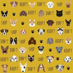 adopt don't shop fabric - pet adoption fabric, adopt a dog, adopt a cat, cat, fabric, dog fabric - yellow