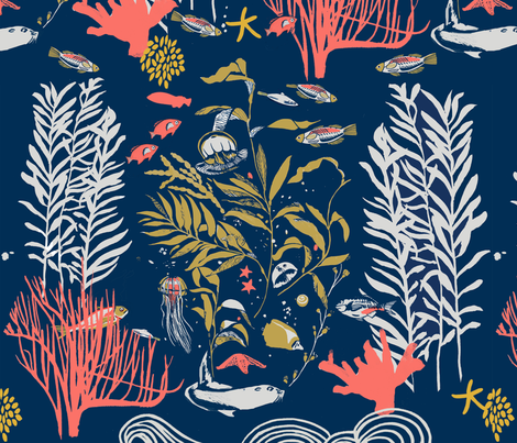 Kelp Forest With Coral fabric by daniela_glassop on Spoonflower - custom fabric
