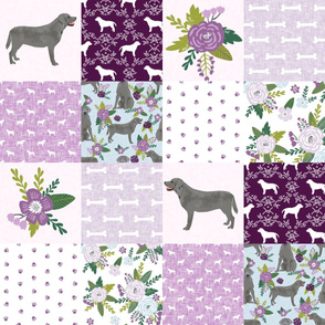 silver lab dog cheater quilt - dog cheater quilt, floral quilt, cute dog, dogs, labrador quilt, labrador quilt fabric - purple