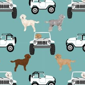 golden doodle adventure fabric - outdoors, beach, cute, dog, dogs, dog fabric - blue