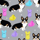 tri corgi easter dog peeps - peeps fabric, dog fabric, corgi fabric, cute dog, dogs fabric - grey