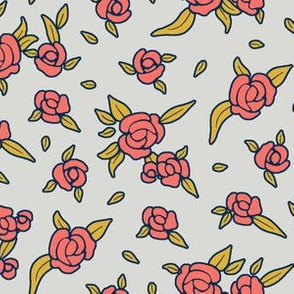 Coral Night Roses - Coral on Grey