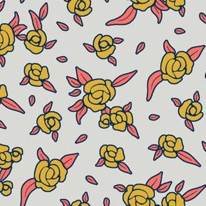 Coral Night Roses - Goldenrod on Grey