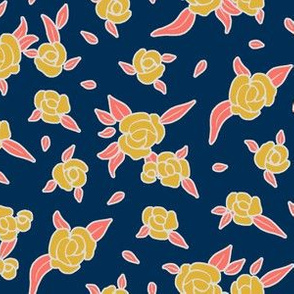Coral Night Roses - Goldenrod on Midnight Blue