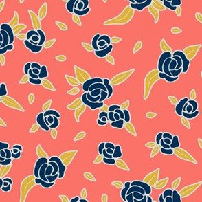 Coral Night Roses - Midnight Blue on Coral