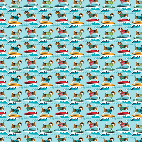 TINY - beagle surfing dog breed fabric pet lover fabrics blue fabric by petfriendly on Spoonflower - custom fabric