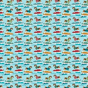 TINY - beagle surfing dog breed fabric pet lover fabrics blue