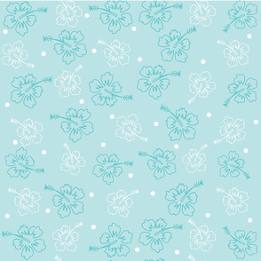 1012_Flower_Hibiscus_White _ Teal _ Dots_ Lt. Aqua Background__ repeat  pattern_trimmed_1 Block.fw