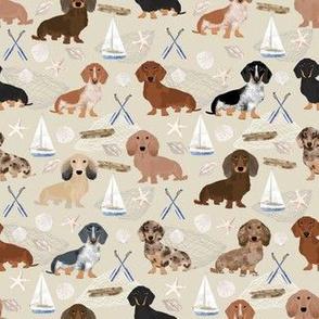 dachsund coastal fabric - dog fabric, dogs fabric, sailboat fabric, coastal nautical design - cream